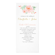 watercolor succulent peach roses wedding programs