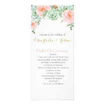 watercolor succulent peach roses wedding programs