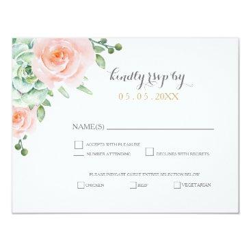 watercolor succulent peach roses wedding rsvp card