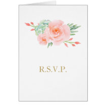 watercolor succulent peach roses wedding RSVP Card
