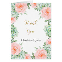 watercolor succulent peach roses wedding Thank You Card