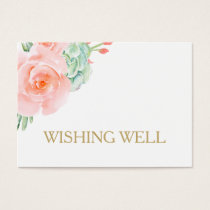 watercolor succulent peach roses wishing well business card