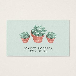 Watercolor Succulent Plant House Pet Sitter Business Card