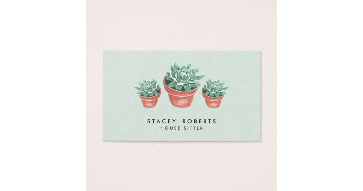 Watercolor Succulent Plant House Pet Sitter Business Card | Zazzle.com