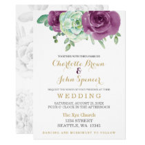 watercolor succulent plum roses wedding card