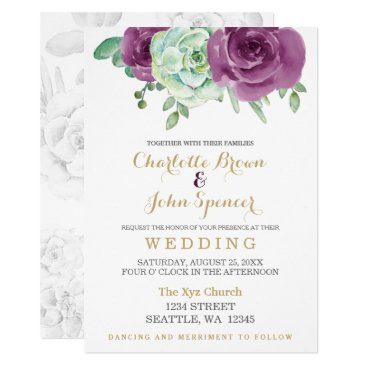 watercolor succulent plum roses wedding card