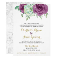 watercolor succulent plum roses wedding invitation