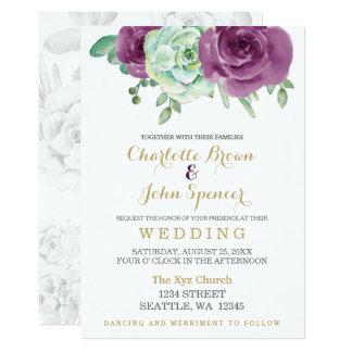 watercolor succulent plum roses wedding invites