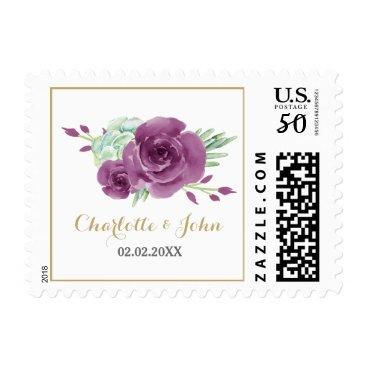 watercolor succulent plum roses wedding postage