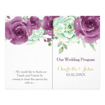 watercolor succulent plum roses wedding program