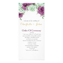 watercolor succulent plum roses wedding programs