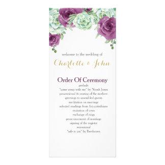 watercolor succulent plum roses wedding programs