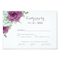 watercolor succulent plum roses wedding rsvp card