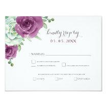 watercolor succulent plum roses wedding rsvp card
