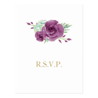 watercolor succulent plum roses wedding rsvp postcard