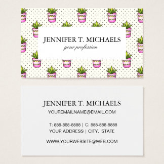 Watercolor Succulent Polka Dot Pattern Business Card