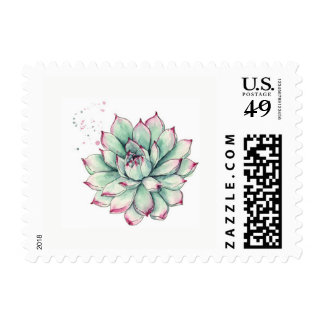 Watercolor Succulent Postage Stamp