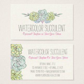 Watercolor Succulent Shabby Chic Bohemian Floral Business Card
