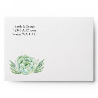 watercolor succulent wedding envelope