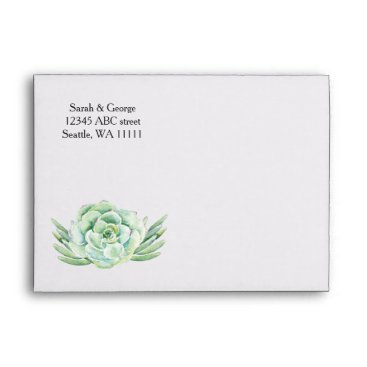 watercolor succulent wedding envelope