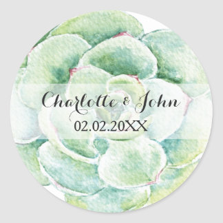 watercolor succulent wedding floral stickers