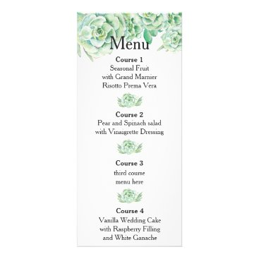 watercolor succulent wedding menu