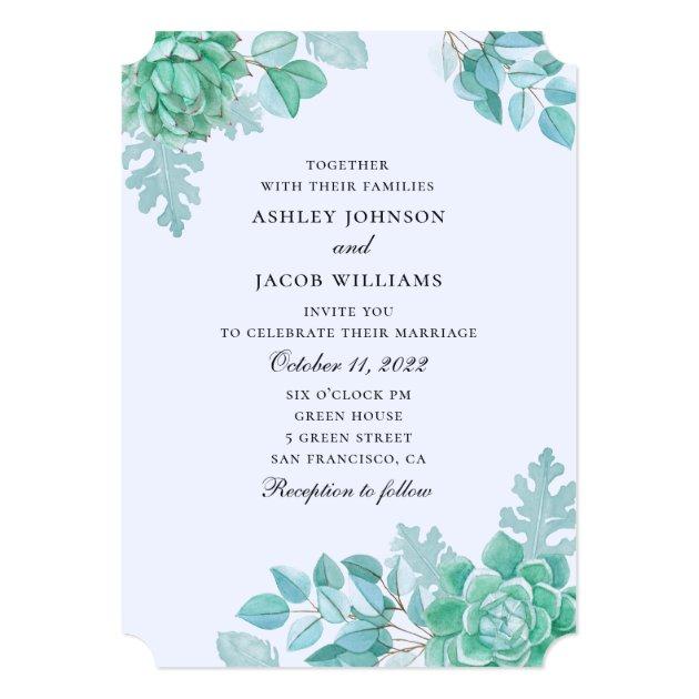 Watercolor Succulent Wedding Mint And Blue Cactus Invitation Zazzle Com