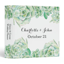 watercolor succulent wedding Planner 3 Ring Binder