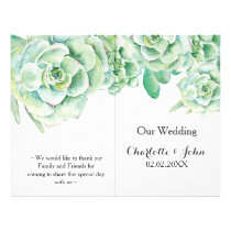 watercolor succulent wedding program