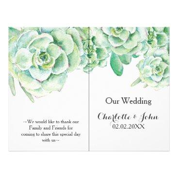 watercolor succulent wedding program