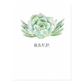watercolor succulent wedding rsvp postcard