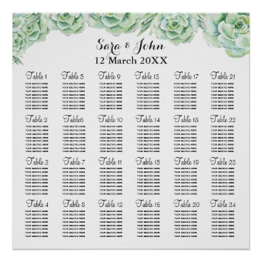 watercolor succulent wedding seating plan poster