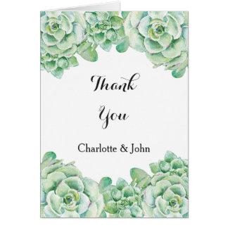 watercolor succulent wedding Thank You Card