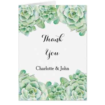 watercolor succulent wedding Thank You Card