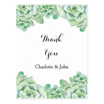 watercolor succulent wedding Thank You notes Postcard