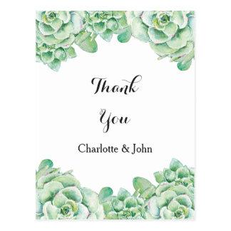 watercolor succulent wedding Thank You notes Postcard