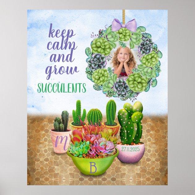 Watercolor Succulent Wreath Cactus Monogram Photo Poster Zazzle Com