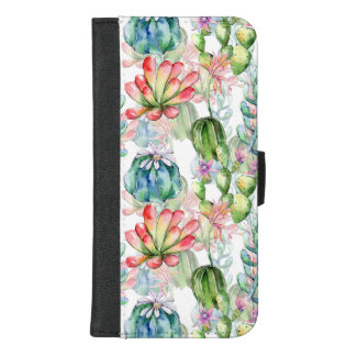 Watercolor Succulents and Cacti iPhone Wallet Case