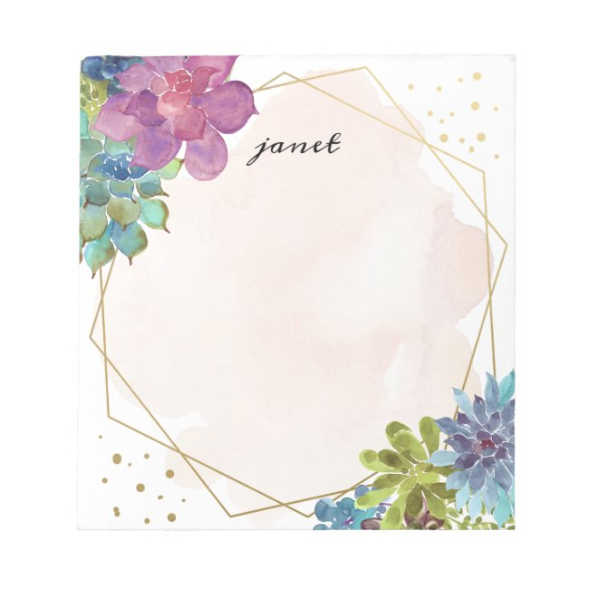 Watercolor Succulents and Gold Frame Personalized Notepad