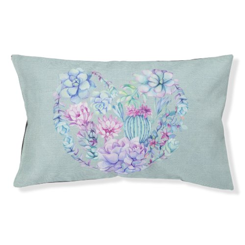 Watercolor Succulents Heart Pet Bed
