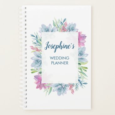 Wedding Themed Watercolor Succulents Personalized Planner
