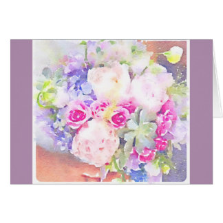 Watercolor Succulents & Roses Stationery Note Card