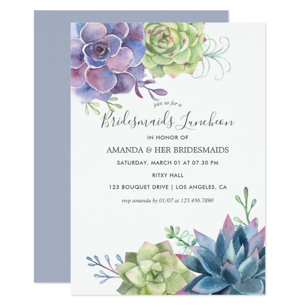 Watercolor Succulents Wedding Bridesmaids Luncheon Invitation Zazzle Com