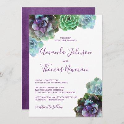 Watercolor Succulents   Wedding Invitation