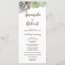 Watercolor Succulents | Wedding Program