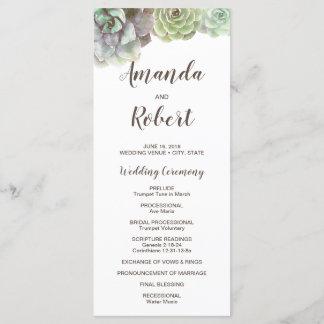 Watercolor Succulents   Wedding Program