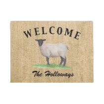 Watercolor Suffolk Sheep Doormat