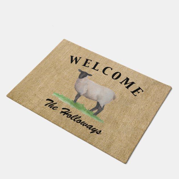Watercolor Suffolk Sheep Doormat Zazzle