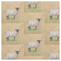 Watercolor Suffolk Sheep Fabric