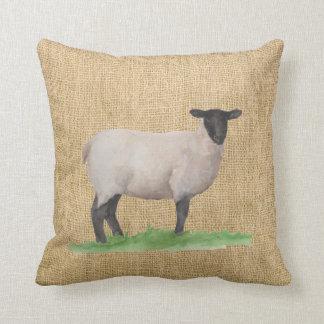Watercolor Suffolk Sheep Throw Pillow